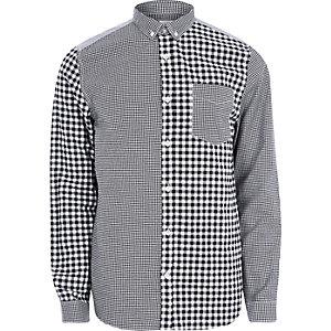 Grey mixed gingham print long sleeve shirt