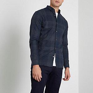 Jack & Jones Premium – Chemise slim à carreaux bleu marine