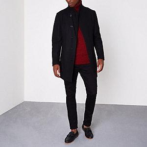 Jack & Jones Premium – Schwarzer Mantel aus Wollmischung