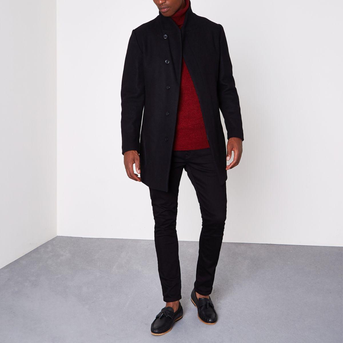 Jack & Jones Premium - Zwarte jas van wolmix
