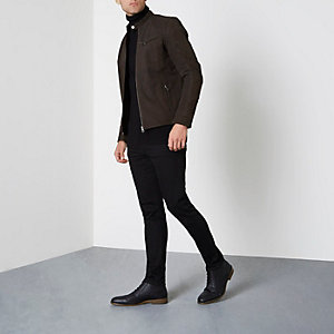 Brown Jack & Jones Premium suede racer jacket