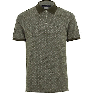Khaki Jack & Jones Premium geo polo shirt