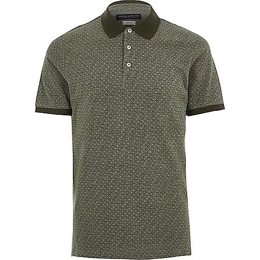 Khaki Jack & Jones Premium geo polo shirt