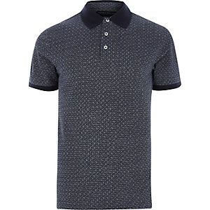 Blue Jack & Jones Premium geo polo shirt