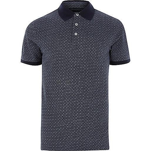 Blue Jack & Jones Premium geo polo shirt