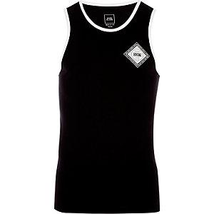 Black 'social' print muscle fit ringer vest