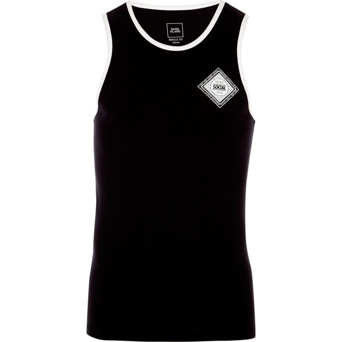Débardeur ajusté imprimé «Social» noir à bordures contrastantes