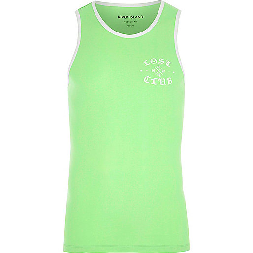 Mint green 'lost club' muscle fit ringer vest
