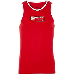 Red 'strange days' print ringer tank