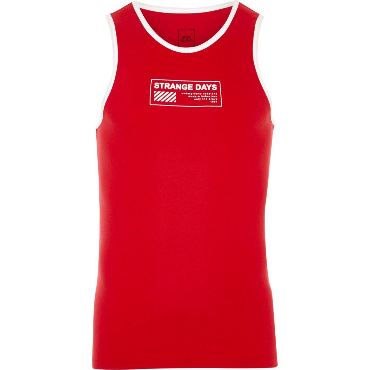 Red 'strange days' print ringer vest