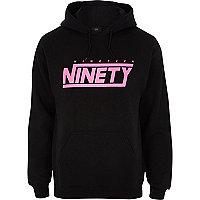 Black 'nineteen ninety' print hoodie