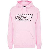 Pink 'nineteen ninety' print hoodie