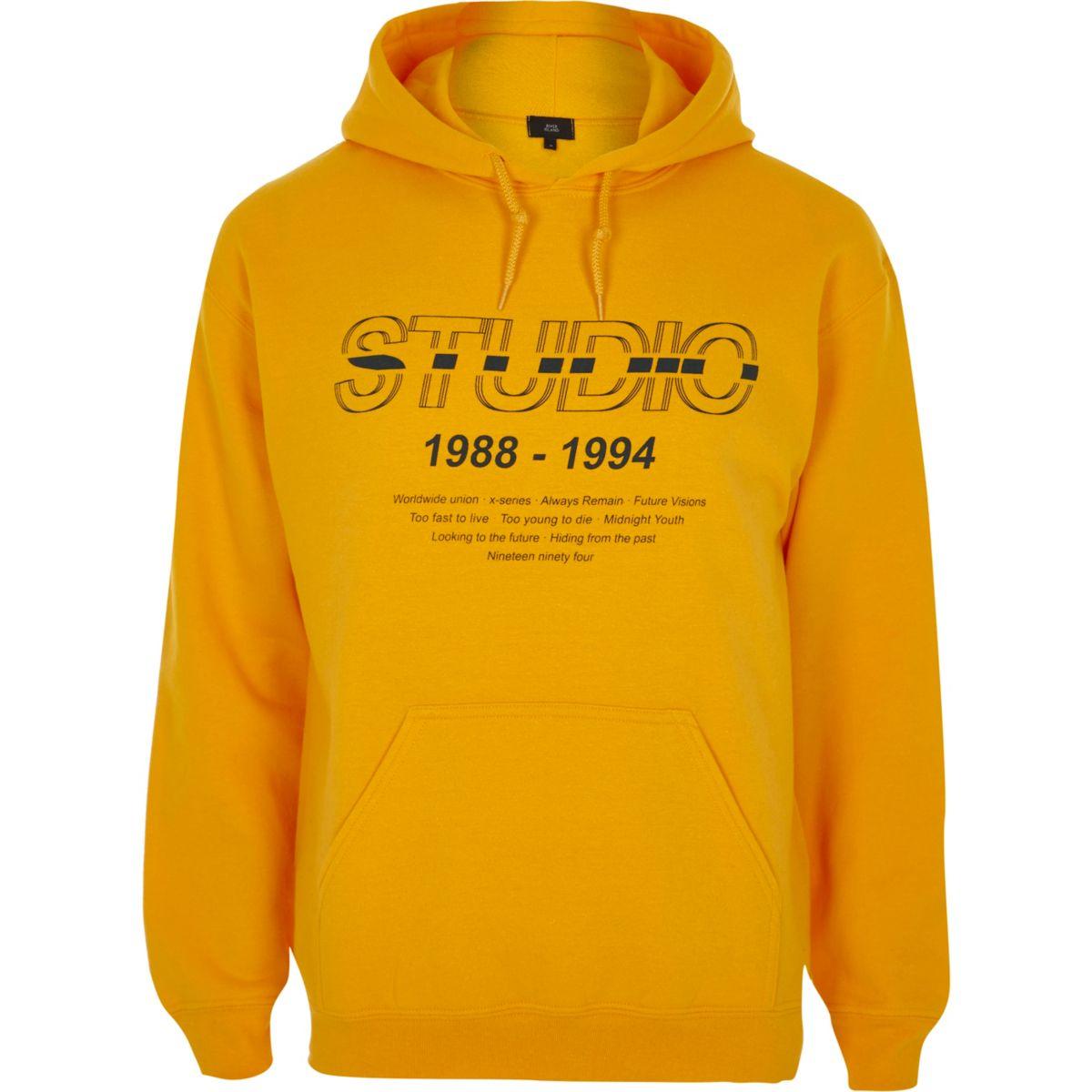 Yellow 'studio' print hoodie