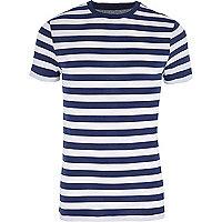 Blue stripe muscle fit crew neck T-shirt