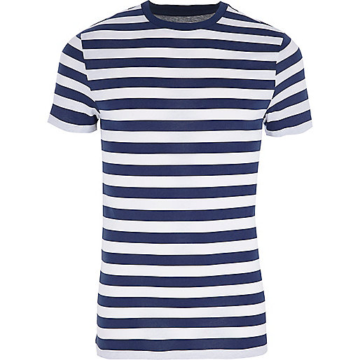 Blue stripe muscle fit crew neck T-shirt