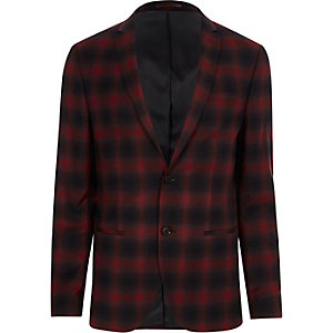 Veste de costume skinny stretch à carreaux rouge