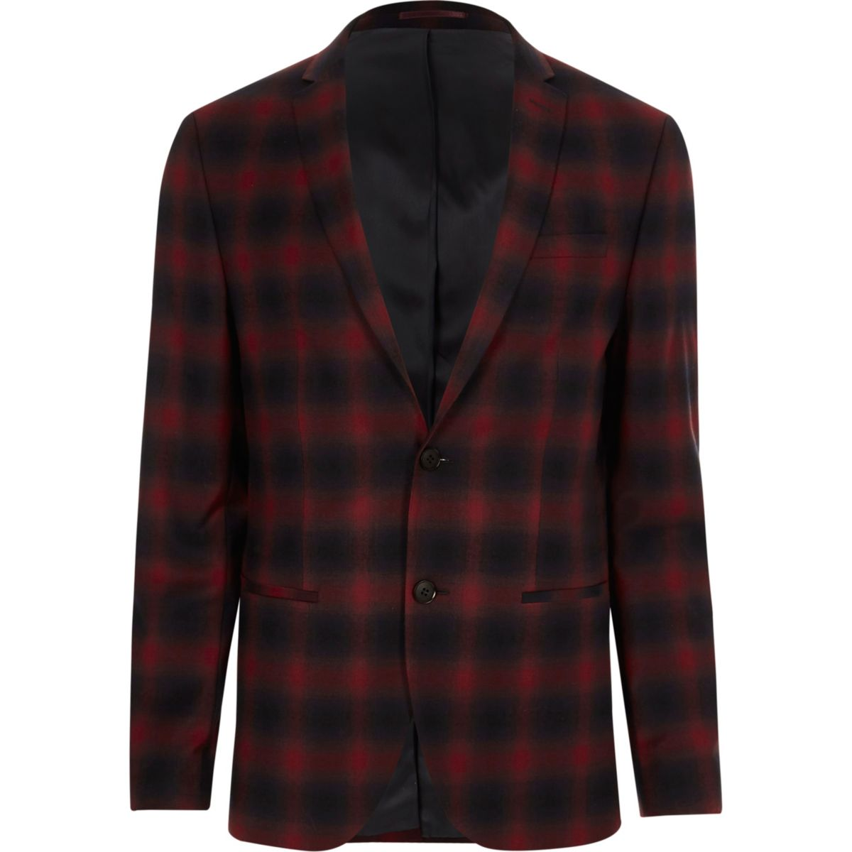 Red check stretch skinny fit suit jacket