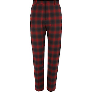 Red check stretch skinny fit suit trousers