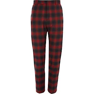 Pantalon de costume skinny stretch à carreaux rouge