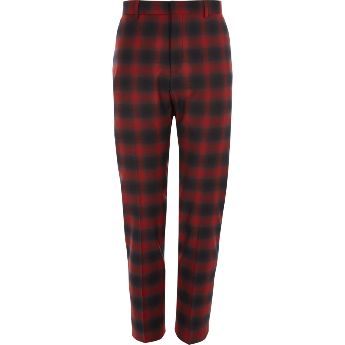 Red check stretch skinny fit suit pants