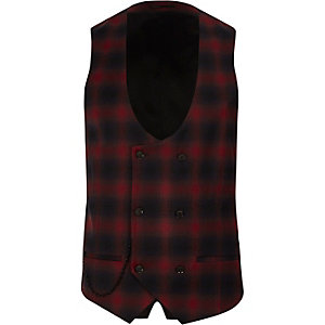 Red check double breasted suit waistcoat