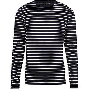 T-shirt ajusté rayé bleu marine à manches longues
