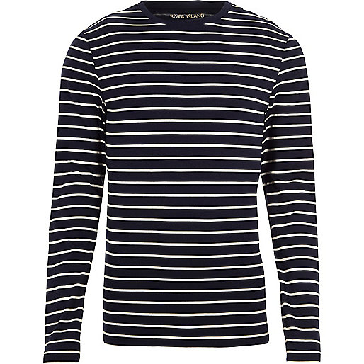 Navy stripe muscle fit long sleeve T-shirt