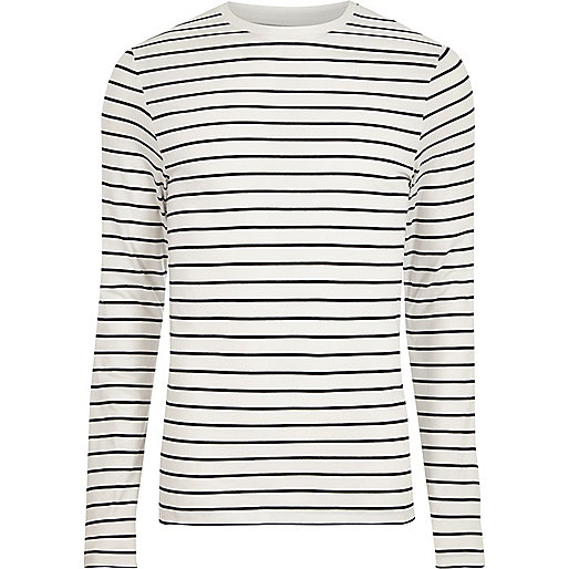 Cream stripe muscle fit long sleeve T-shirt