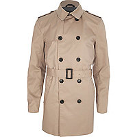 Dark beige double-breasted smart belted mac
