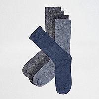 Lot de chaussettes bleues et grises