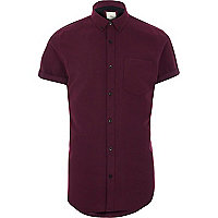 Burgundy short sleeve slim fit Oxford shirt