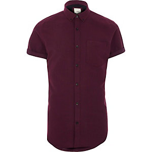 Burgundy short sleeve slim fit Oxford shirt