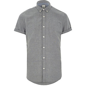 Grey slim fit short sleeve Oxford shirt