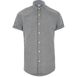 Grijs slim-fit Oxford overhemd met korte mouwen