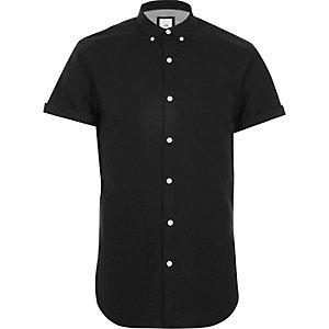 Zwart slim-fit Oxford overhemd met korte mouwen