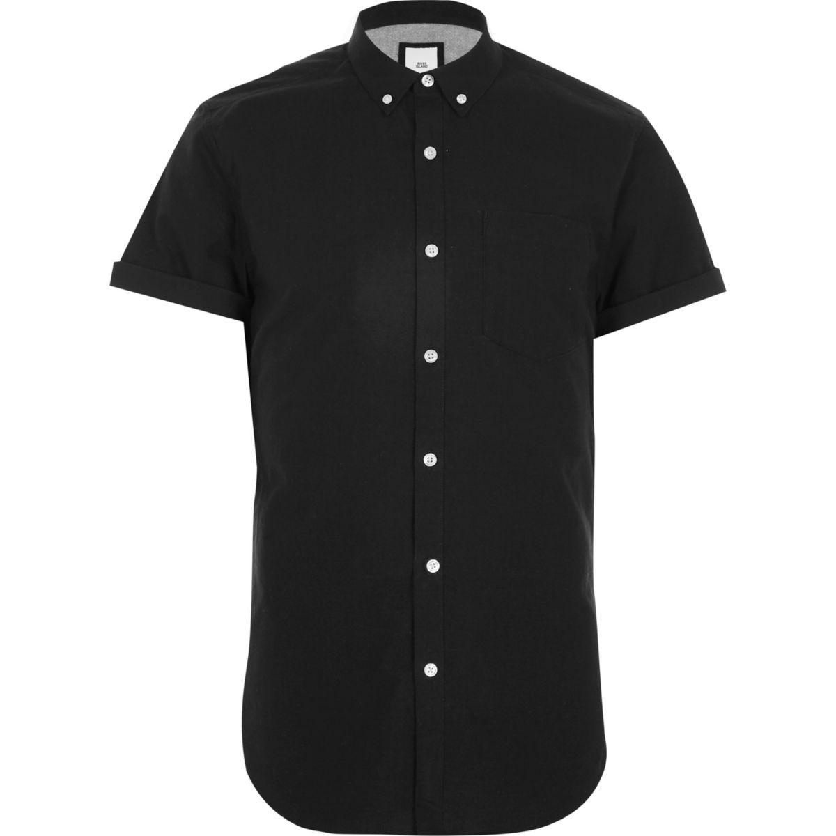 Chemise Oxford noire cintrée à manches courtes