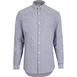 Lichtblauw slim-fit Oxford overhemd met lange mouwen