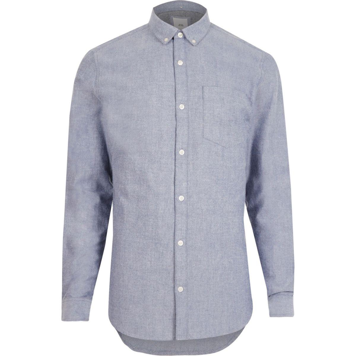 Light blue slim fit long sleeve Oxford shirt