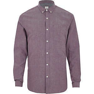 Purple slim fit long sleeve Oxford shirt