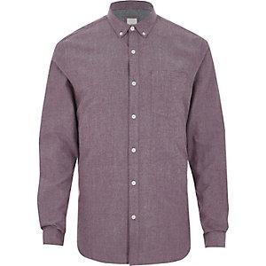 Paarse slim-fit Oxford overhemd met lange mouwen