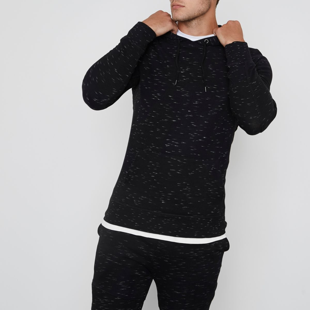 Black long sleeve muscle fit hoodie