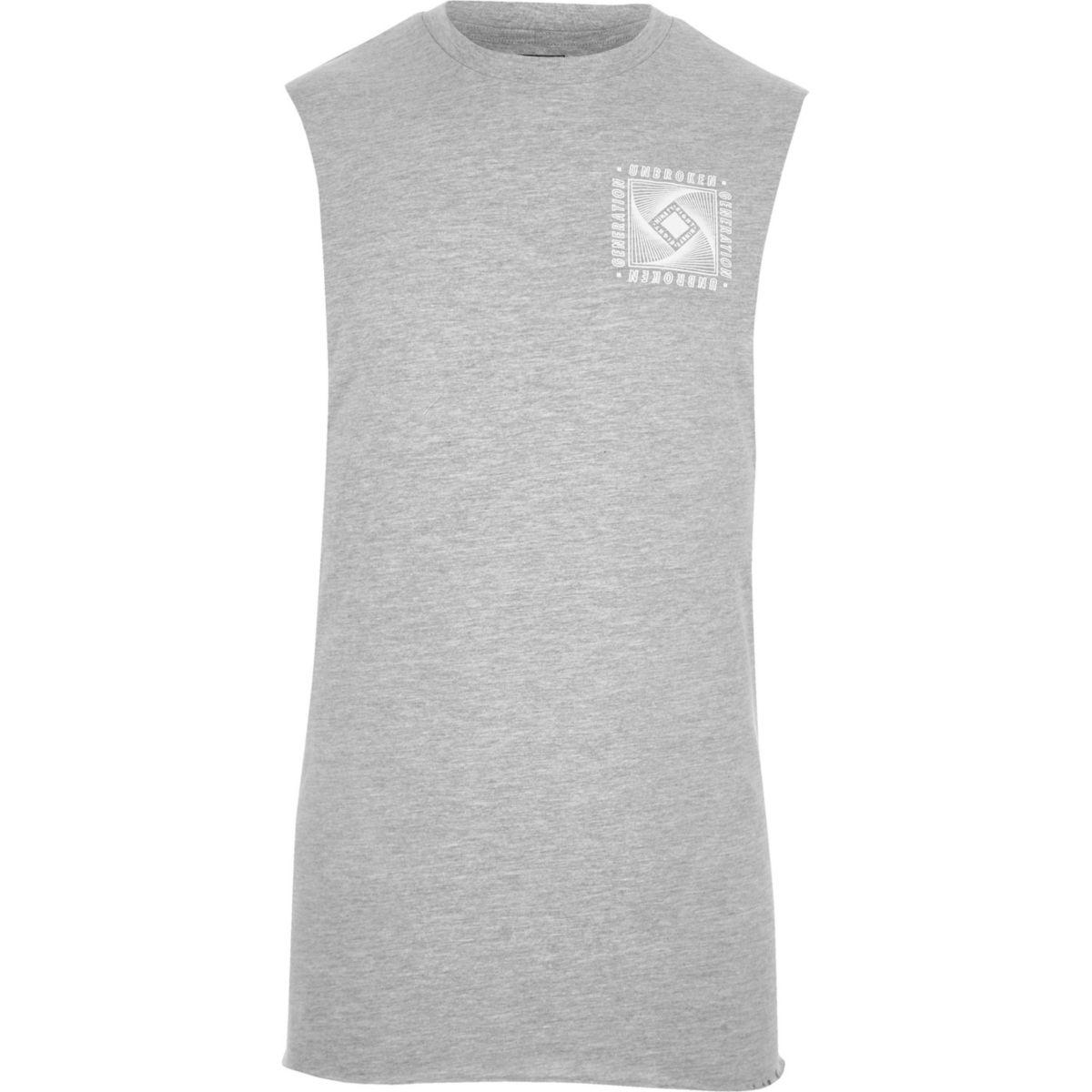 Grey marl 'unbroken' print vest