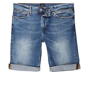 Middenblauwe skinny denim short