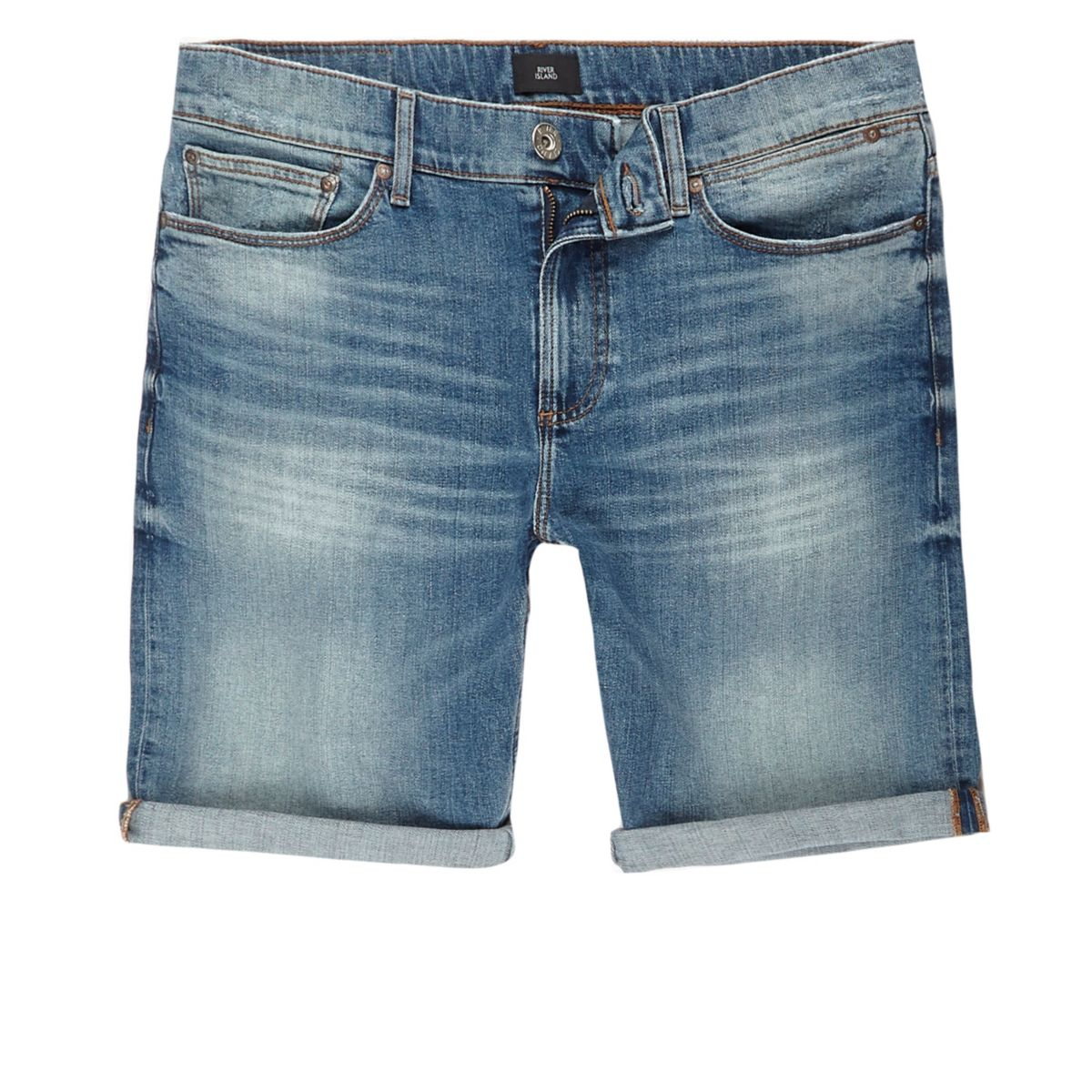 Blue skinny green cast denim shorts