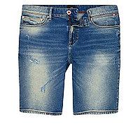 Blue washed skinny denim shorts
