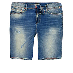 Blue washed skinny denim shorts