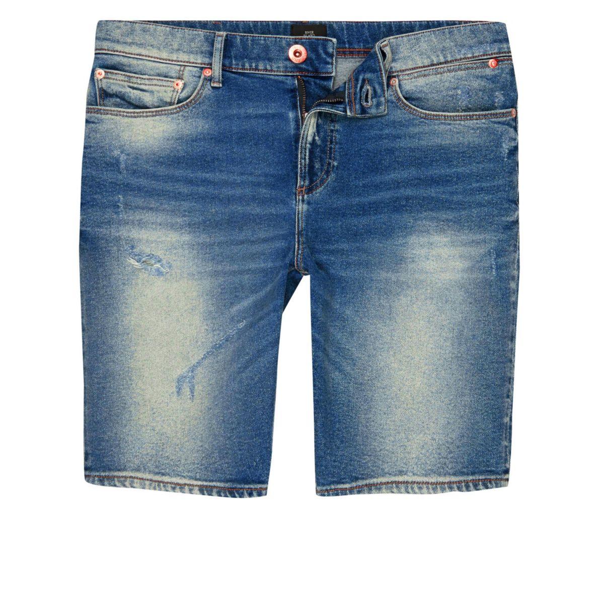 Short en jean skinny bleu délavé