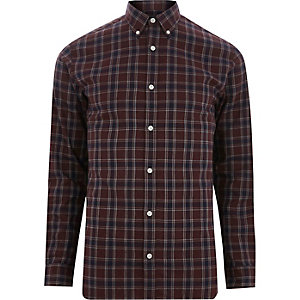 Jack & Jones Premium – Chemise à carreaux marron