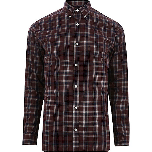 Brown Jack & Jones premium check shirt