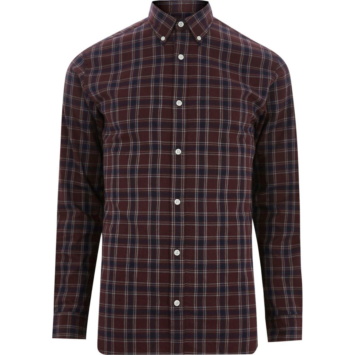 Brown Jack & Jones premium check shirt